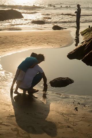 sahil yansıma siluet golden su birikinti