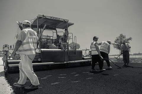 yol asvalt işçi adım iz makina