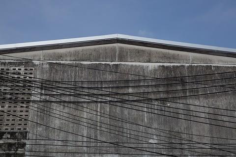 çatı soyut gri mavi tel art geometrik