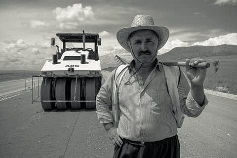yol işçi makina tırpan şapka portre